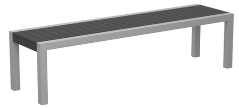Polywood 3800-11GY MOD Bench in Textured Silver Aluminum Frame / Slate Grey - PolyFurnitureStore