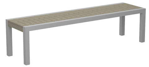 Polywood 3800-11SA MOD Bench in Textured Silver Aluminum Frame / Sand - PolyFurnitureStore