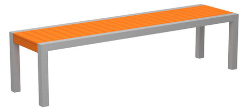Polywood 3800-11TA MOD Bench in Textured Silver Aluminum Frame / Tangerine - PolyFurnitureStore