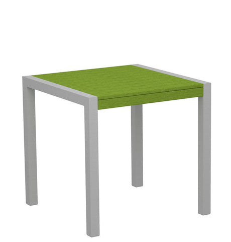 "Polywood 8000-11LI MOD 30"" Dining Table in Textured Silver Aluminum Frame / Lime - PolyFurnitureStore"