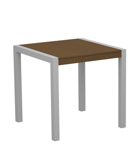 "Polywood 8000-11TE MOD 30"" Dining Table in Textured Silver Aluminum Frame / Teak - PolyFurnitureStore"