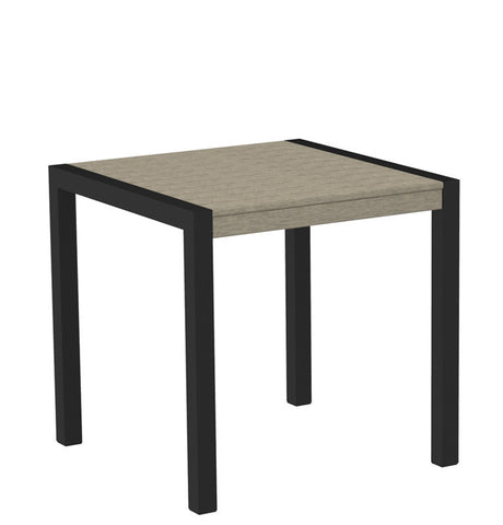 "Polywood 8000-12SA MOD 30"" Dining Table in Textured Black Aluminum Frame / Sand - PolyFurnitureStore"