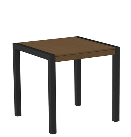 "Polywood 8000-12TE MOD 30"" Dining Table in Textured Black Aluminum Frame / Teak - PolyFurnitureStore"