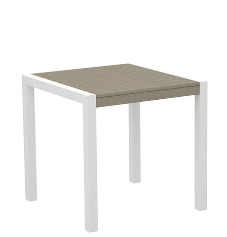 "Polywood 8000-13SA MOD 30"" Dining Table in Textured White Aluminum Frame / Sand - PolyFurnitureStore"