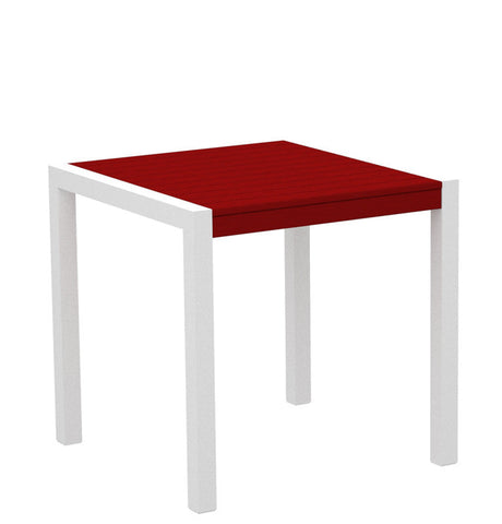 "Polywood 8000-13SR MOD 30"" Dining Table in Textured White Aluminum Frame / Sunset Red - PolyFurnitureStore"