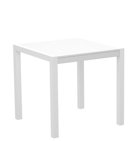 "Polywood 8000-13WH MOD 30"" Dining Table in Textured White Aluminum Frame / White - PolyFurnitureStore"