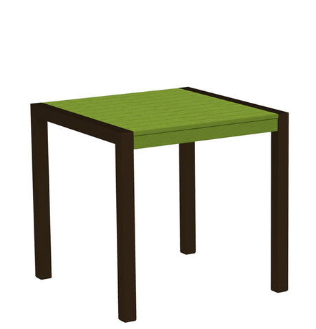 "Polywood 8000-16LI MOD 30"" Dining Table in Textured Bronze Aluminum Frame / Lime - PolyFurnitureStore"