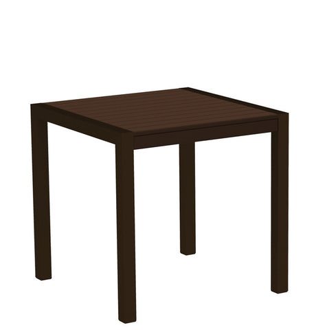 "Polywood 8000-16MA MOD 30"" Dining Table in Textured Bronze Aluminum Frame / Mahogany - PolyFurnitureStore"