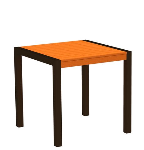 "Polywood 8000-16TA MOD 30"" Dining Table in Textured Bronze Aluminum Frame / Tangerine - PolyFurnitureStore"