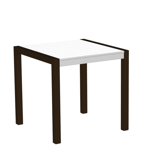 "Polywood 8000-16WH MOD 30"" Dining Table in Textured Bronze Aluminum Frame / White - PolyFurnitureStore"