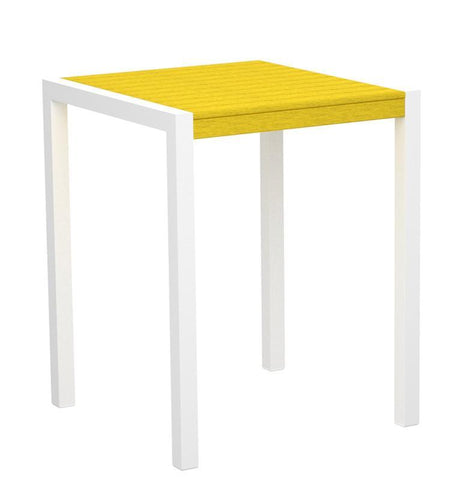 "Polywood 8001-10LE MOD 30"" Counter Table in Gloss White Aluminum Frame / Lemon - PolyFurnitureStore"