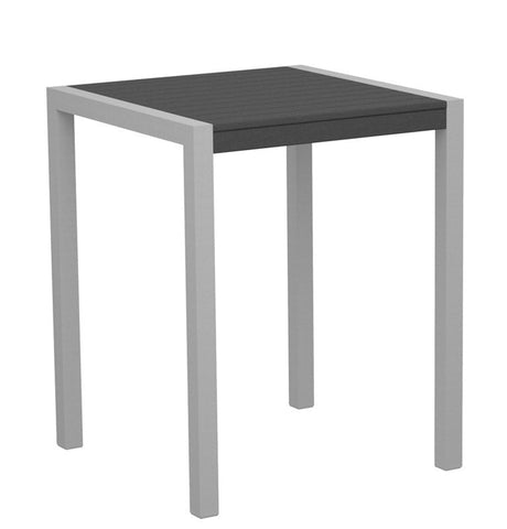 "Polywood 8001-11GY MOD 30"" Counter Table in Textured Silver Aluminum Frame / Slate Grey - PolyFurnitureStore"