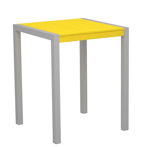 "Polywood 8001-11LE MOD 30"" Counter Table in Textured Silver Aluminum Frame / Lemon - PolyFurnitureStore"