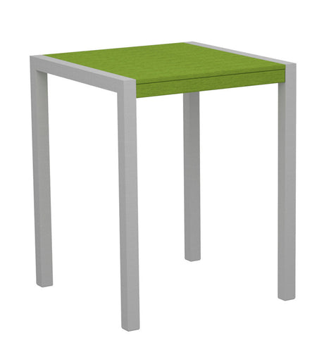 "Polywood 8001-11LI MOD 30"" Counter Table in Textured Silver Aluminum Frame / Lime - PolyFurnitureStore"
