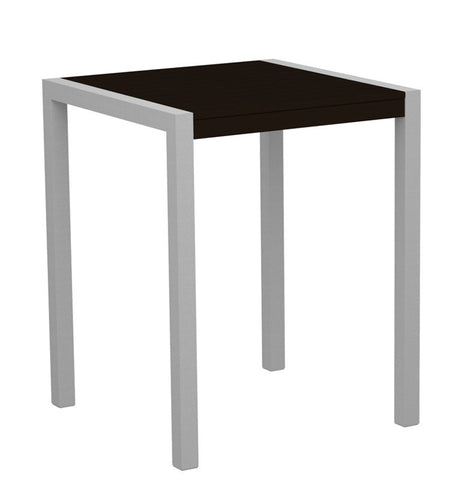 "Polywood 8001-11MA MOD 30"" Counter Table in Textured Silver Aluminum Frame / Mahogany - PolyFurnitureStore"