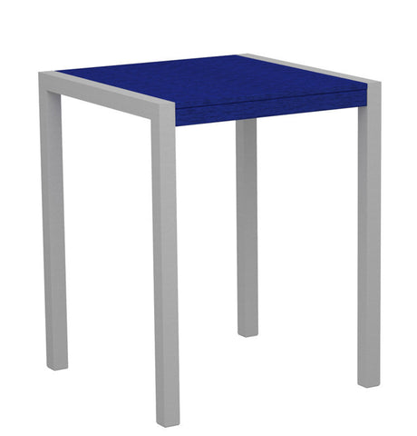 "Polywood 8001-11PB MOD 30"" Counter Table in Textured Silver Aluminum Frame / Pacific Blue - PolyFurnitureStore"