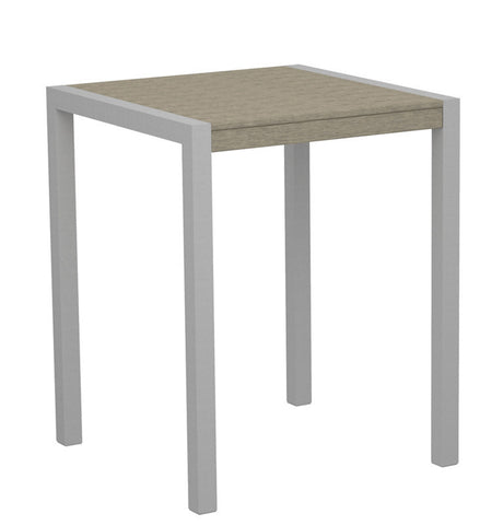 "Polywood 8001-11SA MOD 30"" Counter Table in Textured Silver Aluminum Frame / Sand - PolyFurnitureStore"