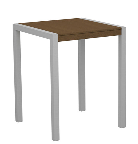 "Polywood 8001-11TE MOD 30"" Counter Table in Textured Silver Aluminum Frame / Teak - PolyFurnitureStore"