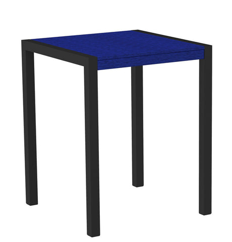 "Polywood 8001-12PB MOD 30"" Counter Table in Textured Black Aluminum Frame / Pacific Blue - PolyFurnitureStore"