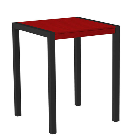 "Polywood 8001-12SR MOD 30"" Counter Table in Textured Black Aluminum Frame / Sunset Red - PolyFurnitureStore"