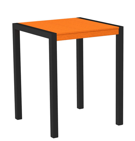 "Polywood 8001-12TA MOD 30"" Counter Table in Textured Black Aluminum Frame / Tangerine - PolyFurnitureStore"