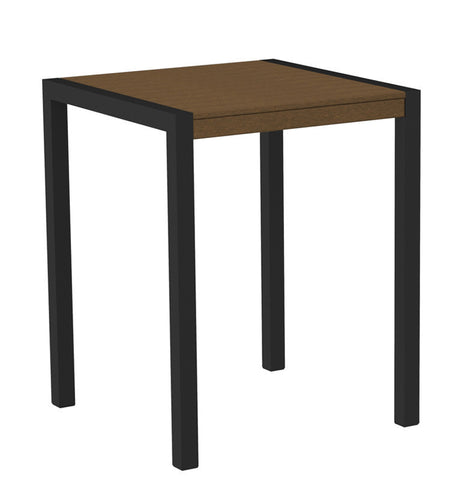 "Polywood 8001-12TE MOD 30"" Counter Table in Textured Black Aluminum Frame / Teak - PolyFurnitureStore"