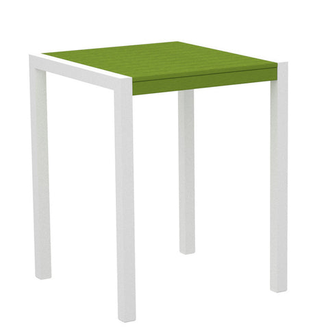 "Polywood 8001-13LI MOD 30"" Counter Table in Textured White Aluminum Frame / Lime - PolyFurnitureStore"