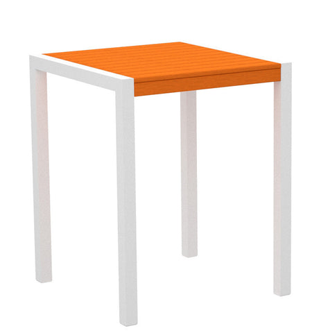 "Polywood 8001-13TA MOD 30"" Counter Table in Textured White Aluminum Frame / Tangerine - PolyFurnitureStore"