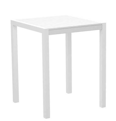 "Polywood 8001-13WH MOD 30"" Counter Table in Textured White Aluminum Frame / White - PolyFurnitureStore"
