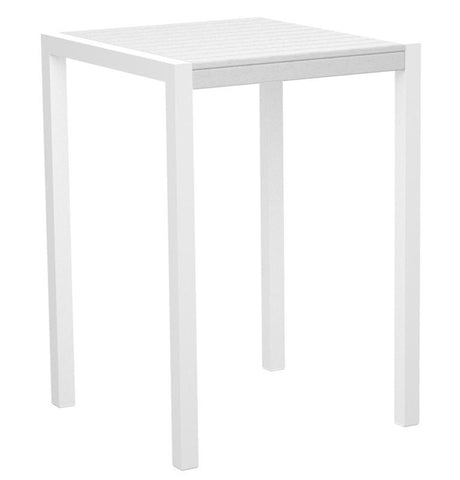 "Polywood 8002-10WH MOD 30"" Bar Table in Gloss White Aluminum Frame / White - PolyFurnitureStore"