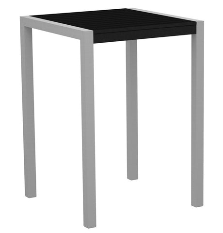 "Polywood 8002-11BL MOD 30"" Bar Table in Textured Silver Aluminum Frame / Black - PolyFurnitureStore"