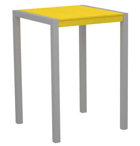 "Polywood 8002-11LE MOD 30"" Bar Table in Textured Silver Aluminum Frame / Lemon - PolyFurnitureStore"