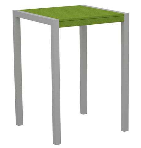 "Polywood 8002-11LI MOD 30"" Bar Table in Textured Silver Aluminum Frame / Lime - PolyFurnitureStore"