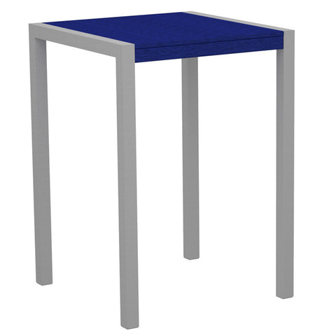 "Polywood 8002-11PB MOD 30"" Bar Table in Textured Silver Aluminum Frame / Pacific Blue - PolyFurnitureStore"