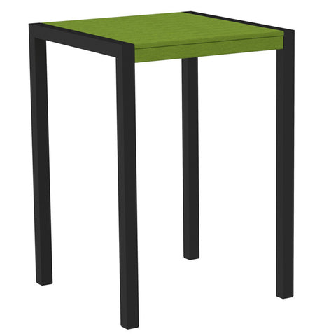 "Polywood 8002-12LI MOD 30"" Bar Table in Textured Black Aluminum Frame / Lime - PolyFurnitureStore"
