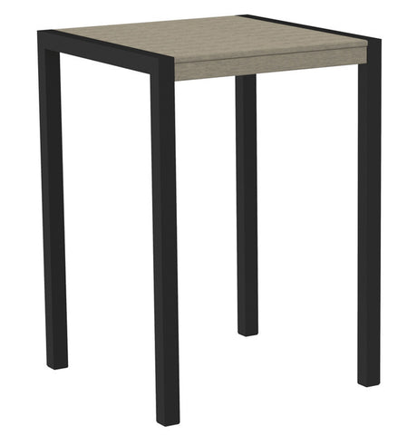 "Polywood 8002-12SA MOD 30"" Bar Table in Textured Black Aluminum Frame / Sand - PolyFurnitureStore"