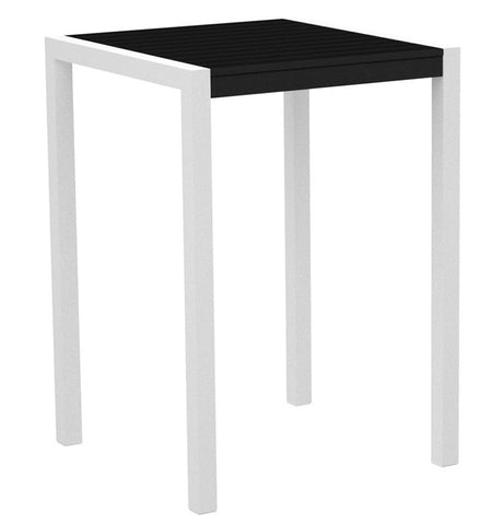 "Polywood 8002-13BL MOD 30"" Bar Table in Textured White Aluminum Frame / Black - PolyFurnitureStore"