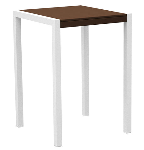 "Polywood 8002-13MA MOD 30"" Bar Table in Textured White Aluminum Frame / Mahogany - PolyFurnitureStore"