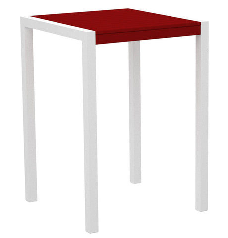 "Polywood 8002-13SR MOD 30"" Bar Table in Textured White Aluminum Frame / Sunset Red - PolyFurnitureStore"