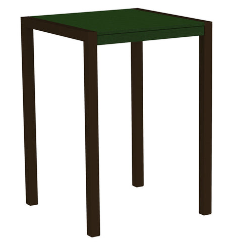 "Polywood 8002-16GR MOD 30"" Bar Table in Textured Bronze Aluminum Frame / Green - PolyFurnitureStore"