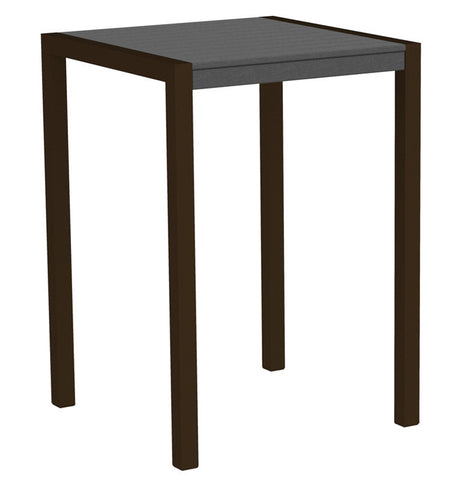 "Polywood 8002-16GY MOD 30"" Bar Table in Textured Bronze Aluminum Frame / Slate Grey - PolyFurnitureStore"