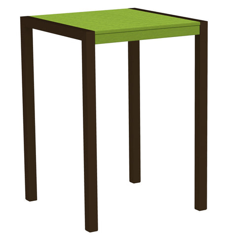 "Polywood 8002-16LI MOD 30"" Bar Table in Textured Bronze Aluminum Frame / Lime - PolyFurnitureStore"