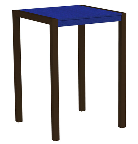 "Polywood 8002-16PB MOD 30"" Bar Table in Textured Bronze Aluminum Frame / Pacific Blue - PolyFurnitureStore"