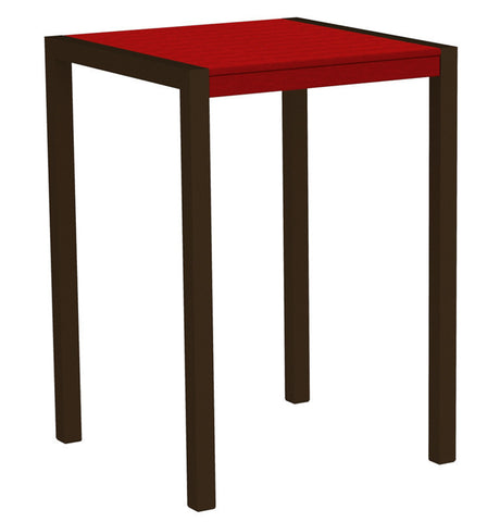 "Polywood 8002-16SR MOD 30"" Bar Table in Textured Bronze Aluminum Frame / Sunset Red - PolyFurnitureStore"