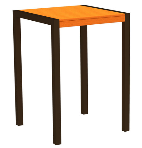 "Polywood 8002-16TA MOD 30"" Bar Table in Textured Bronze Aluminum Frame / Tangerine - PolyFurnitureStore"