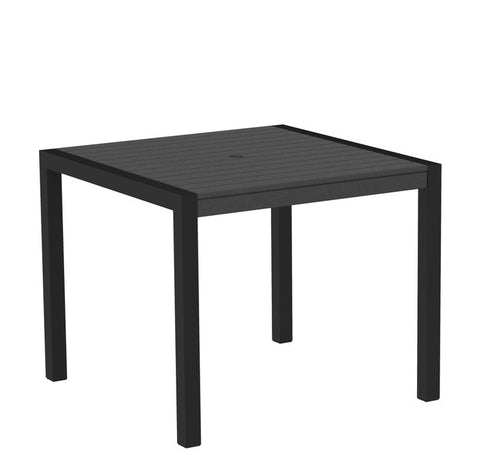 "Polywood 8100-12GY MOD 36"" Dining Table in Textured Black Aluminum Frame / Slate Grey - PolyFurnitureStore"