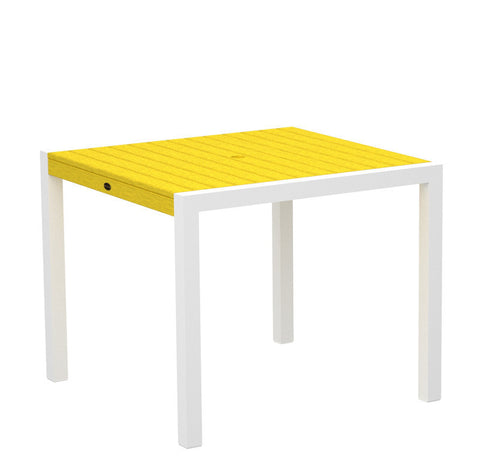 "Polywood 8100-13LE MOD 36"" Dining Table in Textured White Aluminum Frame / Lemon - PolyFurnitureStore"