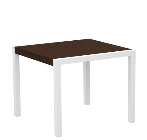"Polywood 8100-13MA MOD 36"" Dining Table in Textured White Aluminum Frame / Mahogany - PolyFurnitureStore"