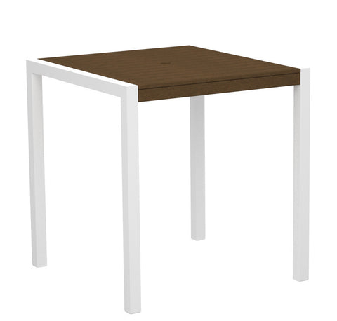 "Polywood 8101-10TE MOD 36"" Counter Table in Gloss White Aluminum Frame / Teak - PolyFurnitureStore"