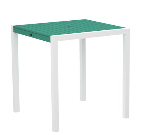 "Polywood 8101-13AR MOD 36"" Counter Table in Textured White Aluminum Frame / Aruba - PolyFurnitureStore"